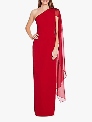 Adrianna Papell One Shoulder Cape Sleeve Gown, Cardinal
