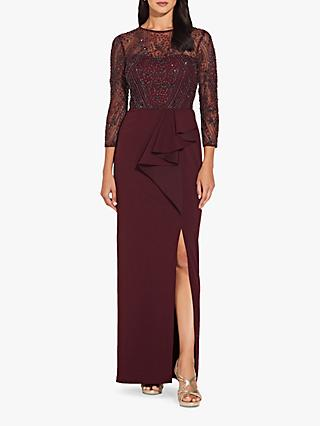 Adrianna Papell Beaded Bodice Column Dress, Dark Burgundy