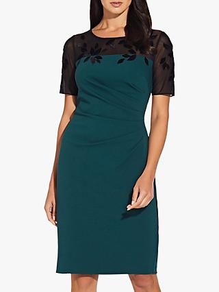Adrianna Papell Crepe Sheath Dress, Hunter/Black