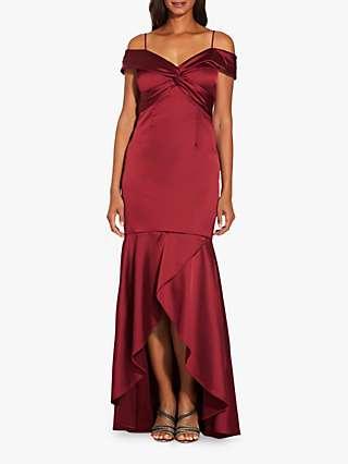 Adrianna Papell Cold Shoulder Satin Dress, Dark Scarlet