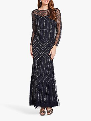 Adrianna Papell Geo Beaded Maxi Dress, Midnight