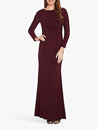 Adrianna Papell Draped Jersey Maxi Dress, Dark Burgundy
