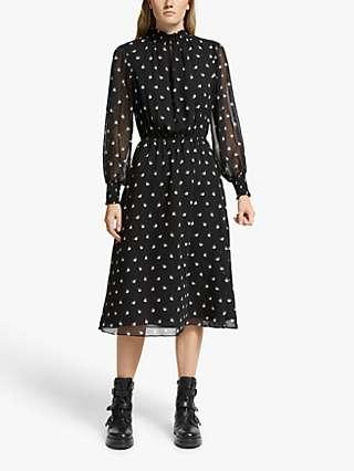 Somerset by Alice Temperley Fan Print Dress, Black