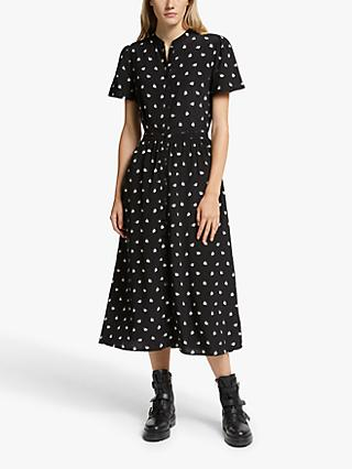 Somerset by Alice Temperley Fan Print Shirt Dress, Black
