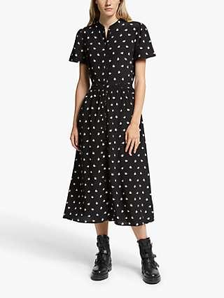 Somerset by Alice Temperley Fan Print Shirt Dress, Black