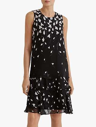Fenn Wright Manson Blanchefleur Petal Print Sleevless Dress, Black/Multi