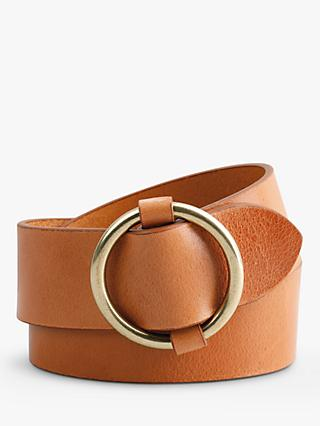 hush Brindisi Leather Jeans Belt, Tan
