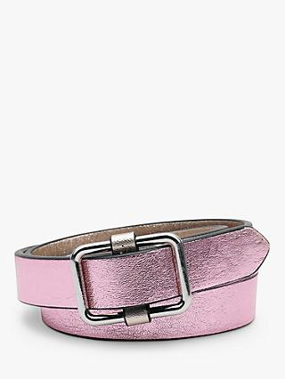 hush Perusia Skinny Leather Belt, Metallic Pink