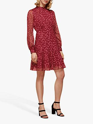 Whistles Falling Leaves Mini Dress, Pink Multi