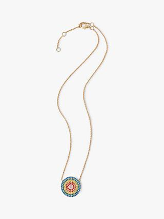 hush Izel Glass Stone Round Pendant Necklace, Gold/Multi