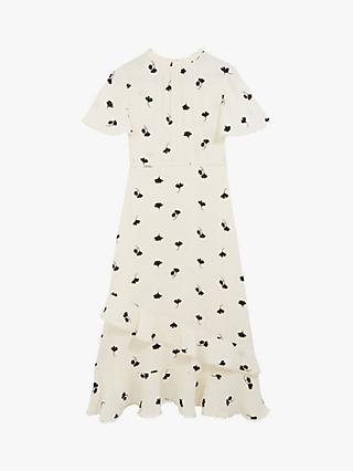 Oasis Leaf Print Frill Midi Dress, Natural/Multi