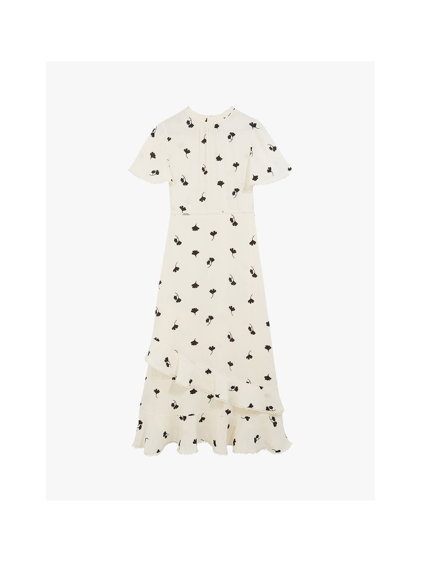 Buy Oasis Leaf Print Frill Midi Dress, Natural/Multi, 6 Online at johnlewis.com