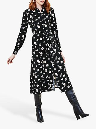 Oasis Floral Shirt Midi Dress, Black/White
