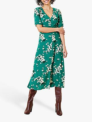 Oasis Dandelion Print Midi Dress, Green/Multi