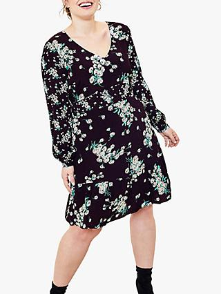 Oasis Curve Dandelion Skater Dress, Black/Multi