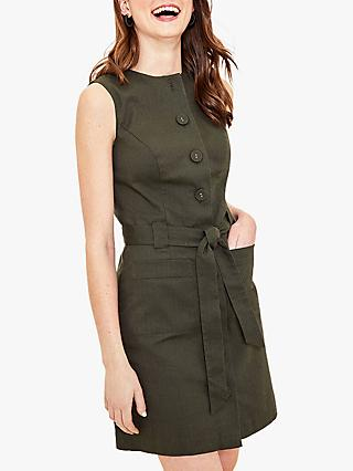 Oasis Button Through Texture Mini Dress, Khaki