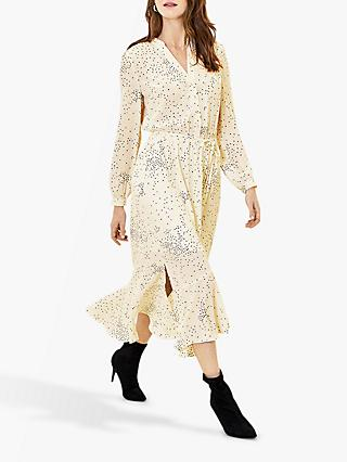 Oasis Dip Hem Spotted Shirt Dress, Multi/Natural