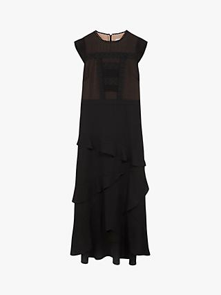 Oasis Lace Frill Midi Dress, Black