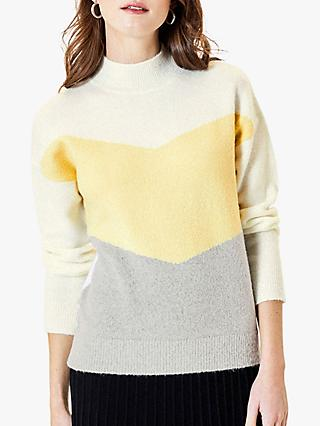 Oasis Chevron Stripe Jumper, Yellow/Multi