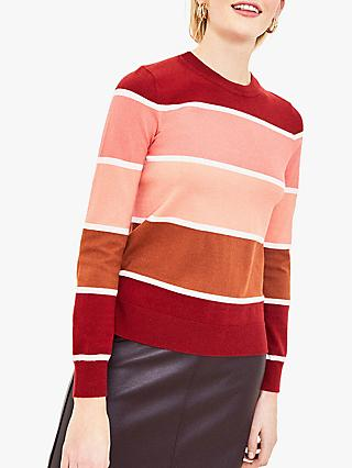 Oasis Block Stripe Jumper, Red Multi