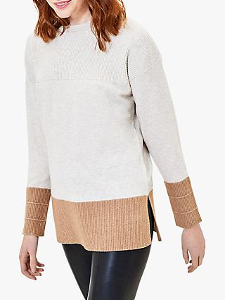 Oasis Colour Block Knit Jumper, Multi Natural