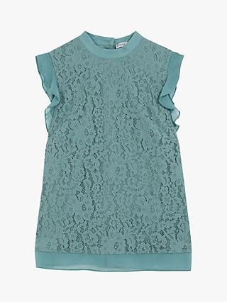 Oasis Chiffon and Lace Shell Top, Mid Blue