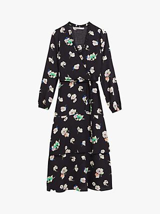 Oasis Floral Ruffle Midi Dress, Black/Multi