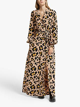Somerset by Alice Temperley Oversized Leopard Print Dress, Brown/Multi