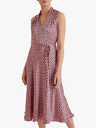Fenn Wright Manson Petite Nadiya Dress, Coral/Navy Geo