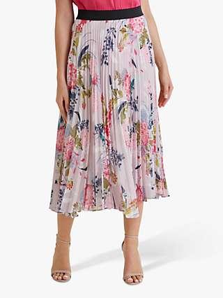 Fenn Wright Manson Petite Orianne Floral Print Midi Skirt, Raspberry Print