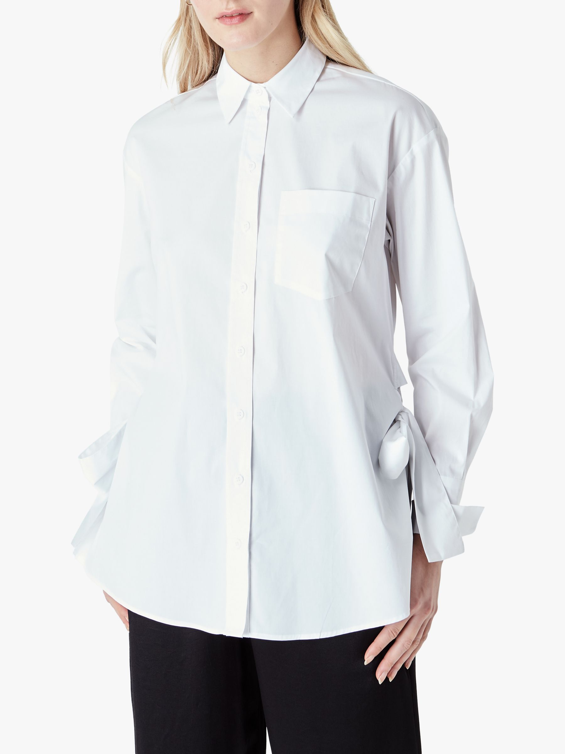 Finery Finery Lewis Side Tie Shirt, White