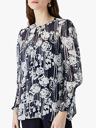 Finery Ellison Floral Print Blouse, Blue