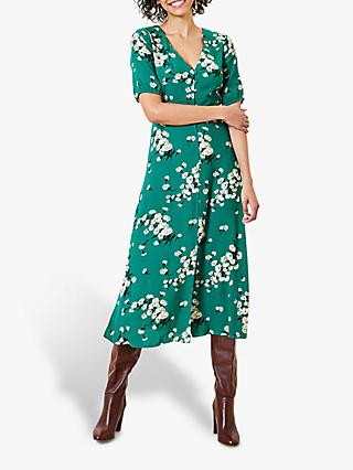 Oasis Dandelion Floral Print Midi Dress, Multi/Green