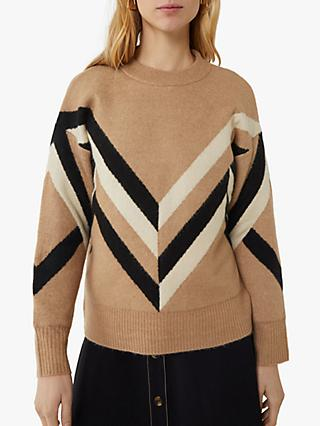 Warehouse Chevron Colour Block Jumper, Camel