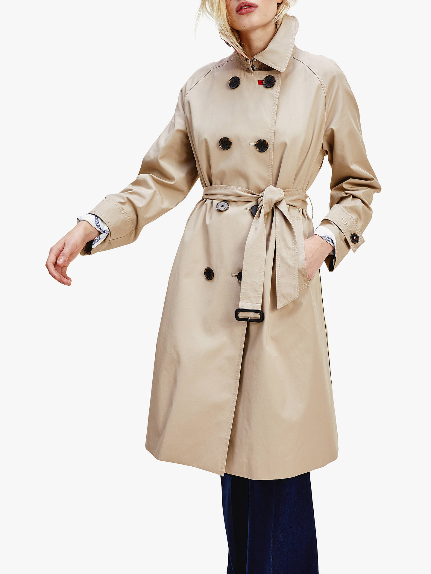 Vecchio uomo luogo comune Strada principale  Tommy Hilfiger Maxi Trench Coat, Beige at John Lewis & Partners