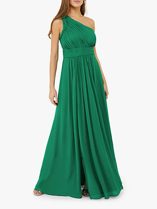 Monsoon Dani One Shoulder Maxi Dress, Emerald Green