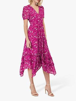 Monsoon Rebecca Floral Print Ruffle Hem Dress, Pink