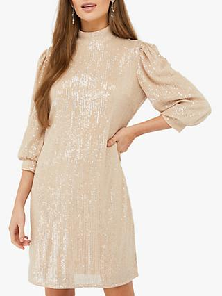 Monsoon Adara Sequin Dress, Blush