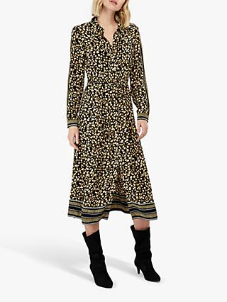 Monsoon Camillia Abstract Print Midi Shirt Dress, Yellow/Black