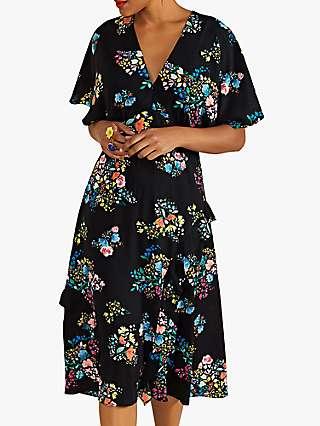 Yumi Spring Time Floral Print Kimono Dress, Black