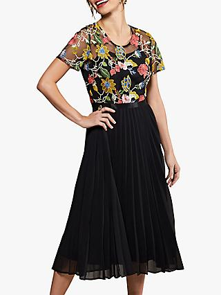Yumi Floral Pleated Dress, Black