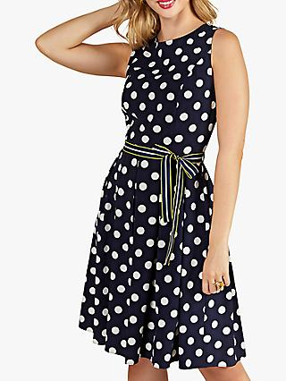Yumi Spot Print Dress with Contrast Belt