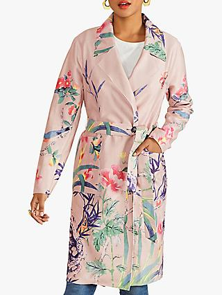 Yumi Bird Print Wrap Coat, Pink