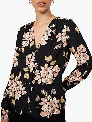 Warehouse Sia Floral Printed Blouse, Black