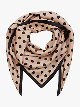 Hobbs Lavinia Polka Dot Silk Scarf, Black/Neutral