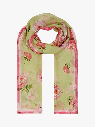 Hobbs Margot Floral Silk Scarf, Green