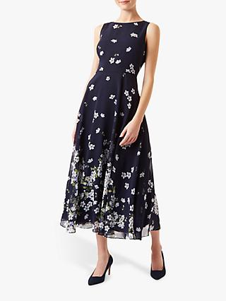 Hobbs Petite Carly Floral Print Dress, Midnight/Ivory