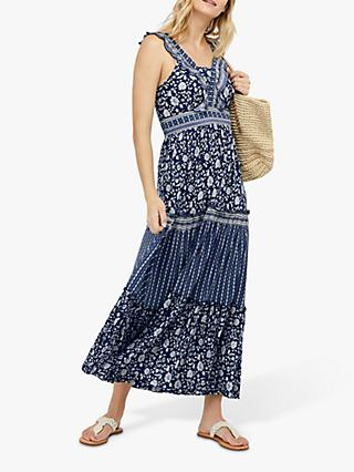 Monsoon Farah Maxi Dress, Blue