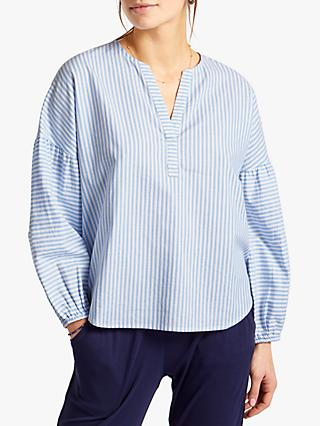 NRBY Clara Striped Cotton Shirt, Blue/White