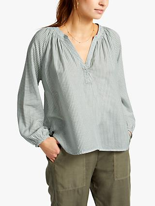 NRBY Olivia Striped Drapey Shirt, White/Khaki